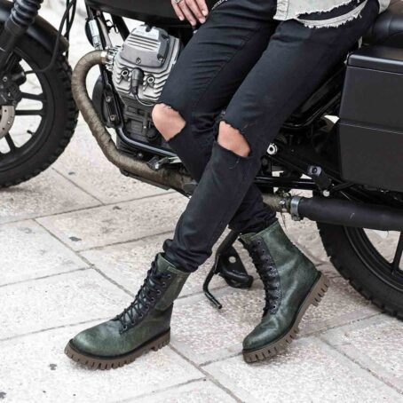 Man wearing green leather boots 6