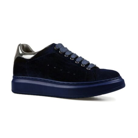 Blue suede elevator sneakers for man 1