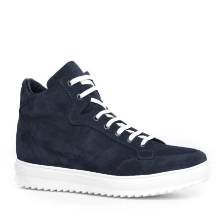Blue suede sneakers with white laces 5
