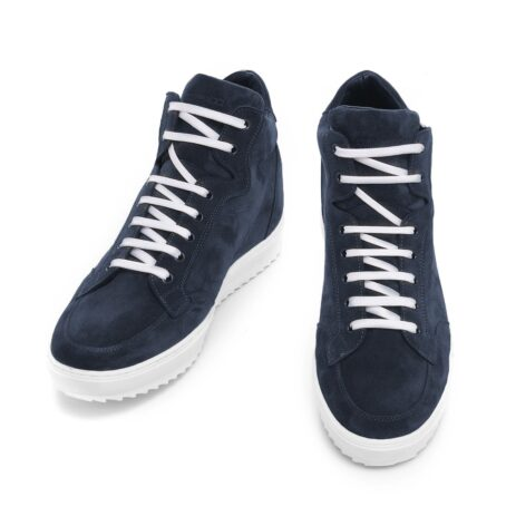 Blue suede sneakers with white laces 4