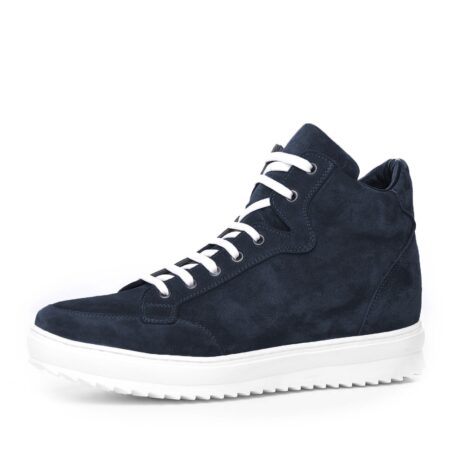 Blue suede sneakers with white laces 3