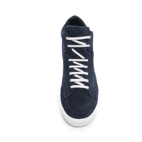 Blue suede sneakers with white laces 2