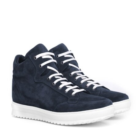 Blue suede sneakers with white laces 1