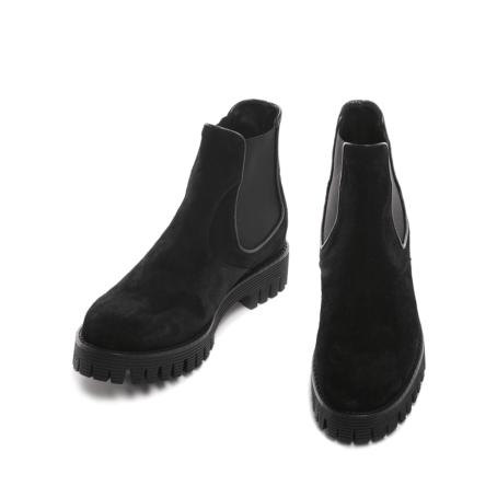 Suede black chelsea shoes 4