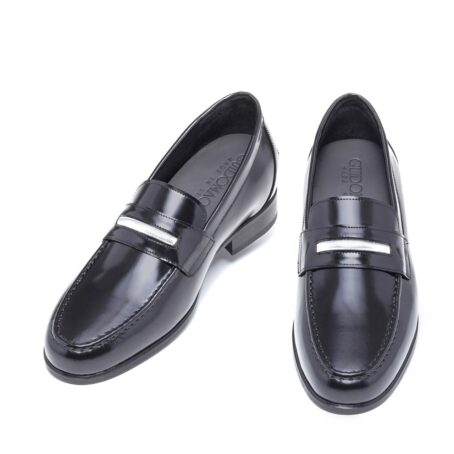 Shiny black loafers shoes 4
