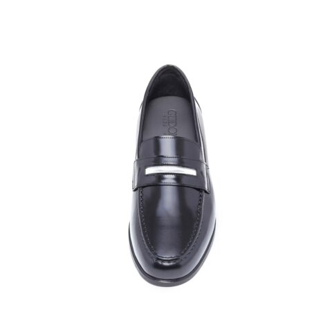 Shiny black loafers shoes 2