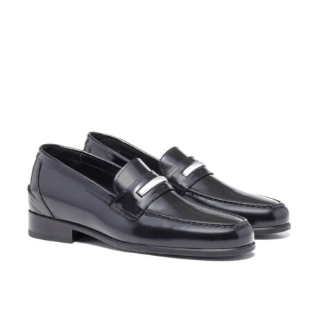 Shiny black loafers shoes